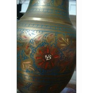 Unknown Accents - Brass Etched Red & Blue Enamel deco Vase